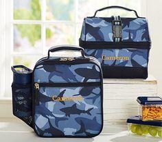Mackenzie Navy Shark Camo Lunch Bags #pbkids
