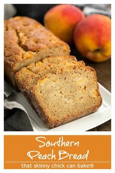Fresh Southern Peach Bread - a cinnamon spiced quick bread chock full of diced peaches! Fresh Southern Peach Bread - a cinnamon spiced quick bread chock full of diced peaches! Peach Quick Bread, Peach Bread, Peach Cake, Banana Bread, Best Homemade Bread Recipe, Quick Bread Recipes, Baking Recipes, Easy Recipes, Vegan Recipes