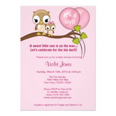 Owl Baby Shower Invitations Girl Mommy pink