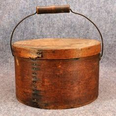 Antique (1800s) covered pantry box with large wooden metal handle