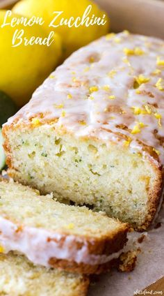 Homemade Lemon Zucchini Bread is sweet, moist, and slightly tangy thanks to the homemade lemon glaze on top! This easy zucchini bread recipe has a lemon bread twist to it, making it the perfect quick bread Lemon Zucchini Loaf, Zuchinni Bread, Gluten Free Zucchini Bread, Lemon Bread, Zucchini Bread Recipes, Lemon Dessert Recipes, Lemon Recipes, Baking Recipes, Bread Twists