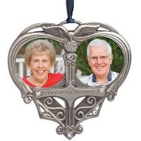 In Loving Memory Double Photo Pewter Ornament