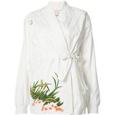 Maharishi embroidered Arctic kimono (£1,140) ❤ liked on Polyvore featuring intimates, robes, white, white kimono, white robe, kimono robe, embroidered robes and embroidered kimono