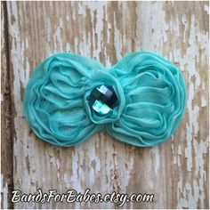 Turquoise Shabby Bow Hair Clip, Blue Bow, Hair Accessory by BandsForBabes, $2.75