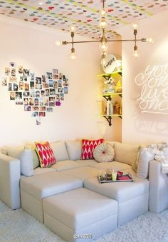 Picture collage for wall and a super cute ceiling.