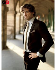 Edgar Ramirez for GQ. Tobacco Brown and Gold. Not your Grandfather's suit anymore.