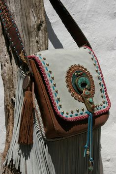 TatiTati Style ➳➳➳ ..for the hippie spirit...Cognac leather with grey suede handmade bag by NIZHO