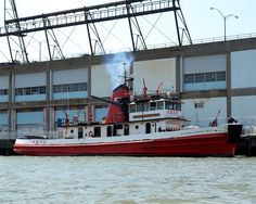 """(Fire Boat #1) """"GOVERNOR ALFRED E. SMITH"""" a FDNY Marine 1 Division Fire Rescue Boat - Shown on the Hudson River, New York City (2)"""