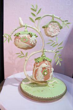 Karen Portaleo/Highland Bakery Pretty Cakes, Beautiful Cakes, Cute Cakes, Fancy Cakes, Cake Creations, Cupcake Cookies, Creative Cakes, Unique Cakes, Tree Wedding