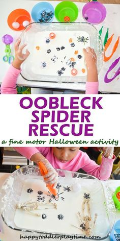 Oobleck Spider Rescue - HAPPY TODDLER PLAYTIME Here is a fun fine motor Halloween sensory activity your kids will love! Rescue creepy spiders from Oobleck! Halloween Activities For Kids, Autumn Activities, Sensory Activities, Toddler Activities, Sensory Play, Sensory Bins, Halloween With Kids, Toddler Halloween Crafts, Halloween Science