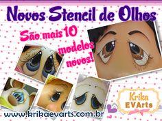 Já conferiram os novos modelos de Estêncil lá na loja?   Tem expressões, olhos e 10 modelos novos!   Faça lindos olhos com os stencil Krik...
