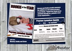 Baseball Card Pregnancy Announcement Birth by FarmsteadDesigns