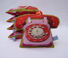 Telephone lavender bag  retro modern red and pink by IvyArch, £8.00