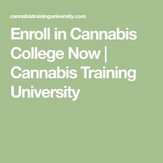 Enroll in Cannabis College Now | Cannabis Training University