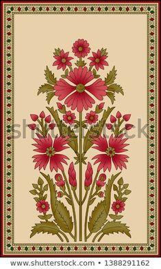 Pichwai Paintings, Mughal Paintings, Flower Motif, Motif Floral, Plant Painting, Silk Painting, Folk Art Flowers, Flower Art, Ajrakh Prints