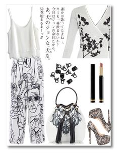 """""""Spring Cardigan b & w"""" by chintyar ❤ liked on Polyvore featuring Emilio Pucci, Chicwish, Diane Von Furstenberg, Christian Louboutin, Coccinelle, Gucci, H&M, cutecardigan and springlayers"""
