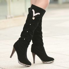 Winter Round Toe Stiletto High Heel Slip On Knee High Rhinestone Martens Boots