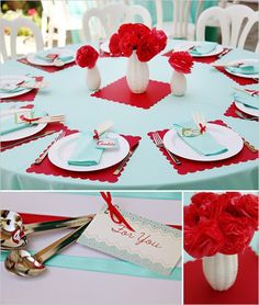 These placemats would be cute in aqua with the a white table cloth.