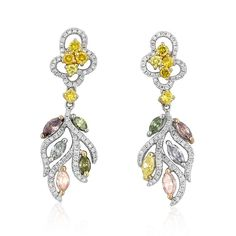 Leana 18k three tone gold, custom designed earrings featuring 0.64 carat fancy yellow and 1.57 carats of natural pink, blue and grey colored diamonds, accented with 0.78 carats of ideal cut diamonds.