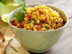 Grilled Corn Salsa ~ tossed with tomatoes, red onion, & basil in red wine vinegar | recipe by chef Michael Chiarello via Food Network