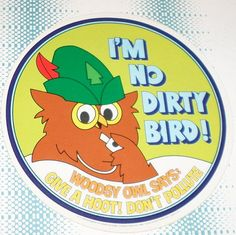 Give A Hoot Dont Pollute Vintage Decal Sticker Souvenir Skateboard Laptop Im No Dirty Bird Woodsy Owl Says