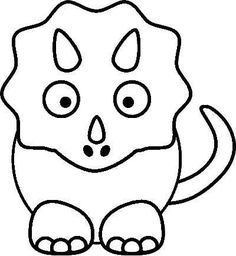 Free Printable Dinosaur Crafts | Triceratops Coloring Page for the kids