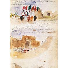 Eugène Delacroix, Album d'Afrique du Nord et d'Espagne: l'arrivée à Meknès, mine de plomb et aquarelle, Paris, musée du Louvre (dépt Arts graphiques)