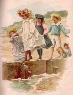 By the sea graphics: women & children strand illustratie, vi Éphémères Vintage, Images Vintage, Vintage Artwork, Vintage Ephemera, Vintage Pictures, Vintage Cards, Vintage Postcards, Vintage Prints, Vintage Illustrations