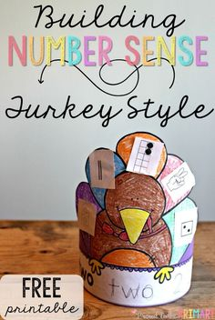Need a fun math activity for fall that builds number sense? These adorable building number sense turkeys are the perfect activity for Thanksgiving in the classroom. Cut and learn the different number representations, paste them on the turkey feathers, and create a turkey hat! Grab this FREE activity today! #turkeyactivities #fallmath #numbersense #turkeycraft #turkeyhat