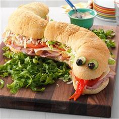 Snakewich with Venom Sauce Recipe- Recipes Our Halloween party is so big, I hold it in the street. This sandwich shaped like a snake is tasty and a scary good centerpiece. —Suzanne Clark, Phoenix, AZ