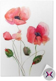Plakát Pixerstick Stylizované Poppy květiny ilustrační