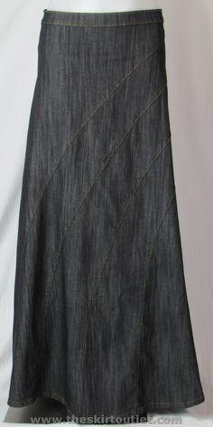 Rainbow Long Denim Skirt