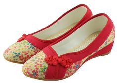 Soojun Women's Traditional Chinese Pointed-toe Slip On Walking Shoes Size US 7 Red. Check Soojun Size Chart(Product Description)to get a perfect fit. Easy Slip On style; Non-Skid Sole. Breathable and Durable Cotton Linen. Soft, Light, and Super Comfortable. Please find the matched cute linen dresses in our stores.