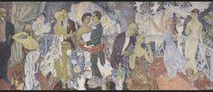 Tove Jansson: Juhlat kaupungissa, 1947. Helsingin taidemuseo/Arbis. Monumentaalimaalaus.