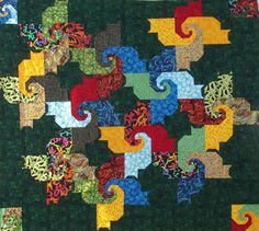 Psycho Cat Quilt Pattern -  All shapes are squares,  triangles, and rectangles.