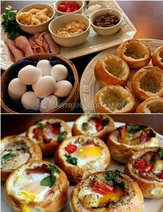 These breakfast bread bowls are perfect for a lazy weekend brunch Brunch Recipes, Breakfast Recipes, Breakfast Ideas, Morning Breakfast, Health Breakfast, Brunch Food, Brunch Party, Breakfast Healthy, Breakfast Appetizers