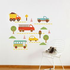 Printed in the U.S.A. on biodegradable adhesive fabric, these wall decals are both removable and reusable. Safe for non-porous walls, these decals will leave no