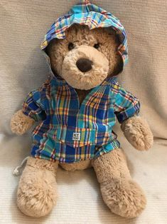 "Blue And Yellow Plaid Hoodie Jacket For 15""-17"" Plush Dolls And Teddy Bears  
