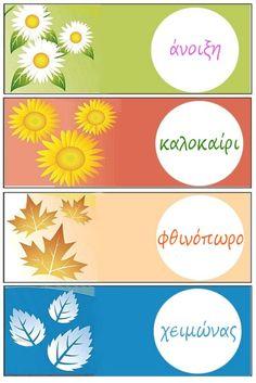 Οι 4 εποχές και οι μήνες-Διακόσμηση τάξης Month Weather, Weather For Kids, Weather Seasons, Teaching English, Mosaic Art, Four Seasons, Projects To Try, Avon, Clip Art