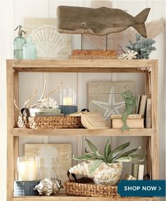 Love the styling of the shelf and all the beachy items on it! Birch Lane