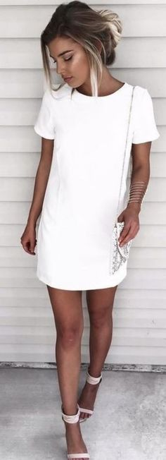 white on white | t-shirt dress + bag + heels