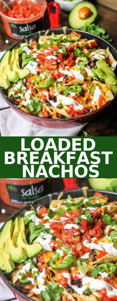 Loaded Breakfast Nachos are are layered with eggs bacon cheese beans jalapenos and then topped with avocado salsa and sour cream for the perfect game-day meal! Breakfast Nachos, Healthy Breakfast Casserole, Vegetarian Casserole, Vegetarian Breakfast Recipes, Savory Breakfast, Breakfast Time, Brunch Recipes, Dinner Recipes, Ovo Vegetarian