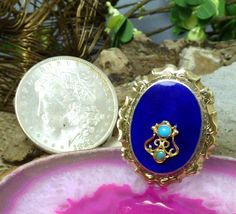 Vintage 10k Yellow Gold, Royal Blue Enamel, & Turquoise Brooch/Pin!!  #Unbranded
