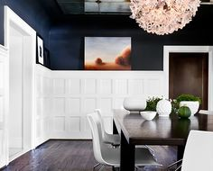navy walls, white paneling, contemporary furnishings, landscape art, and mirrored ceilings.