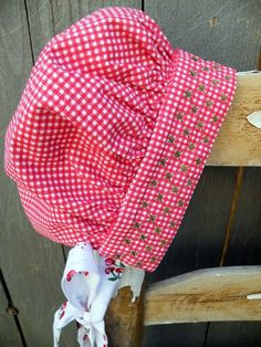 Gingham Bonnet with Chicken Scratch Embroidery by beebers31, via Flickr