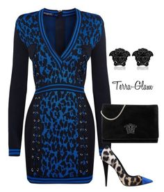 Blue Prints by terra-glam on Polyvore featuring polyvore fashion style Balmain Giuseppe Zanotti Versace clothing