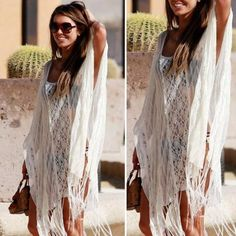 284a7fbd73 Hot 2015 Newest Summer Style White Bat Sleeve Lace Tassel Dress Women  Swimsuit Cover Up Beach
