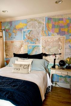 Travel DIY: Collect maps from your vacations and stick them up to create a feature wall that looks like a traveller's wallpaper