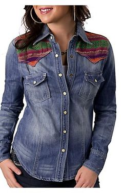 Lovemarks® Womens Denim w/ Multicolor Embroidered Yokes L/S Western Shirt | Cavenders Boot City