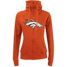 Women's New Era Orange Denver Broncos Athletic Funnel Full-Zip Hoodie ($62) ❤ liked on Polyvore featuring orange